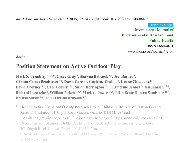 outdoor play research paper
